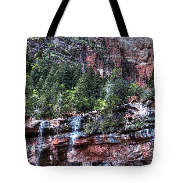 Red Falls Tote Bag