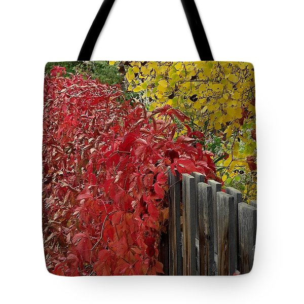 Red Fence Tote Bag by Dorrene BrownButterfield