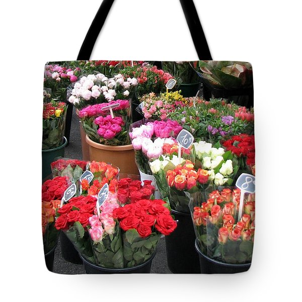 Red Flowers In French Flower Market Tote Bag by Carla Parris
