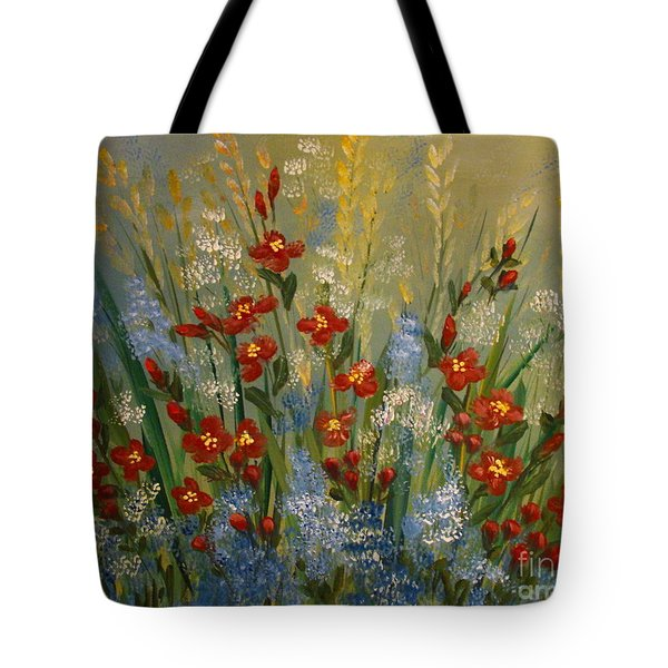 Red Flowers In The Garden Tote Bag