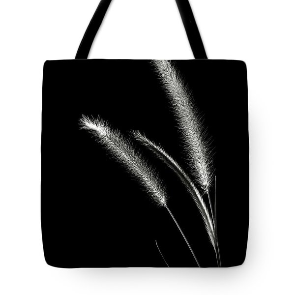 Red Fountain Grass In Black And White Tote Bag