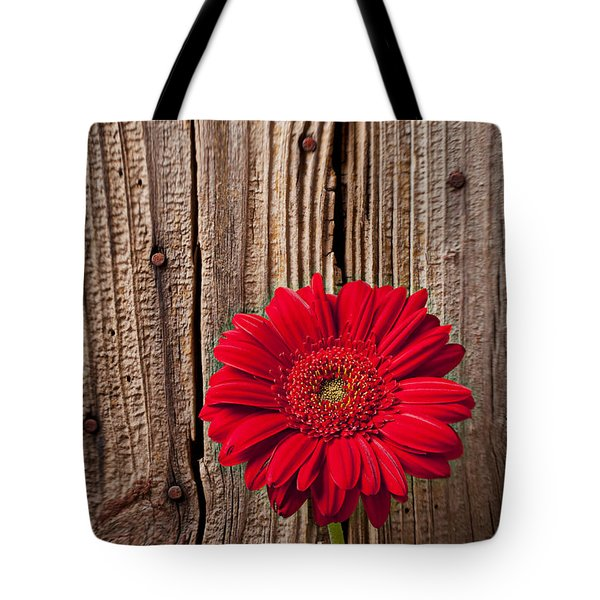 Red Gerbera Daisy With Wooden Wall Tote Bag by Garry Gay