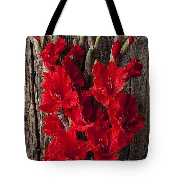 Red Gladiolus Tote Bag by Garry Gay