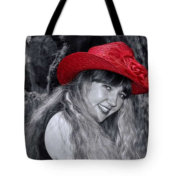 Red Hat And A Blonde Black And White Tote Bag