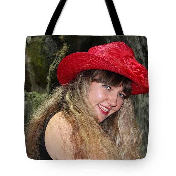 Red Hat And A Blonde Tote Bag