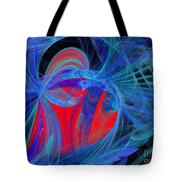 Red Heart Blue Lace Tote Bag by Andee Design