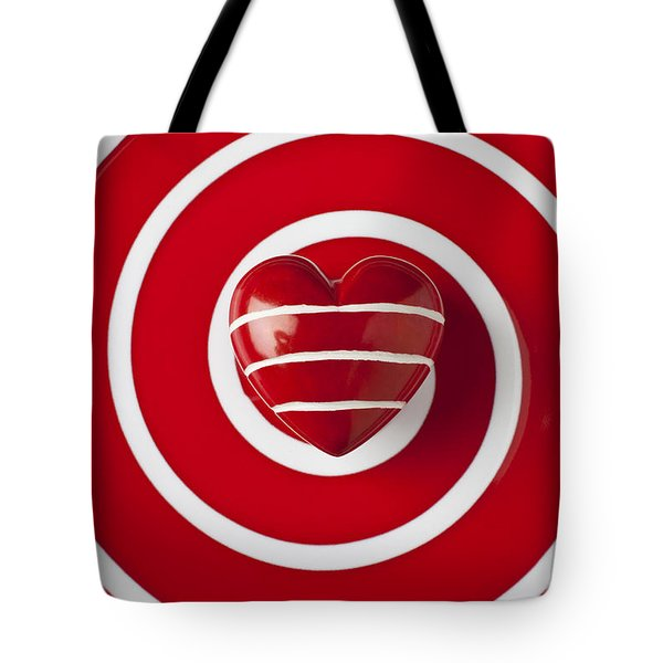 Red Heart Soft Stone Tote Bag by Garry Gay