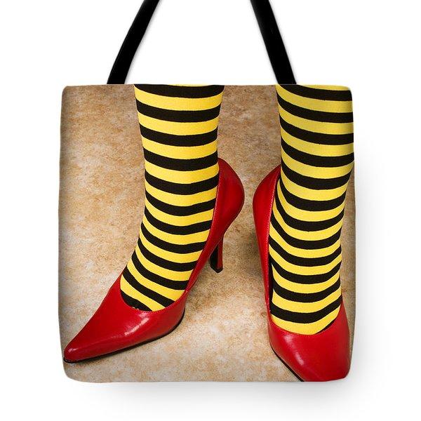 Red High Heels Andstockings Tote Bag by Garry Gay