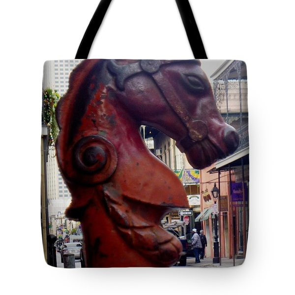 Tote Bag featuring the photograph Red Horse Head Post by Alys Caviness-Gober
