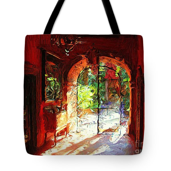Tote Bag featuring the digital art Red Hotel Lobby by John  Kolenberg
