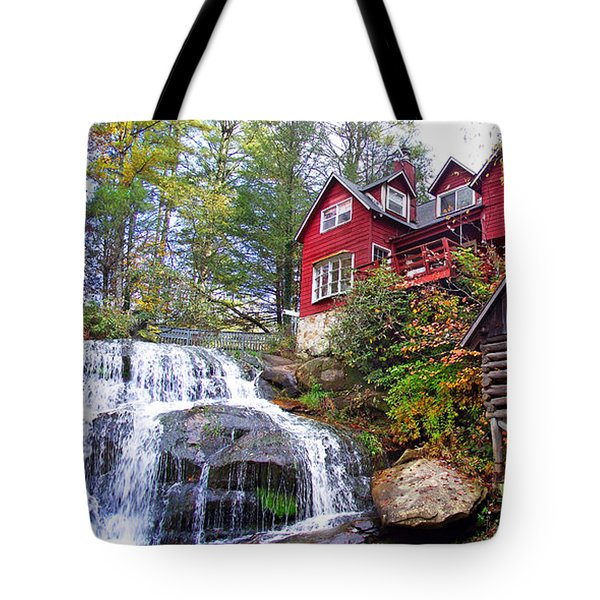 Red House By The Waterfall 2 Tote Bag