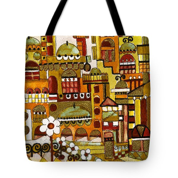Red Kasba Skyline Landscape Art Of Old Town Dome And Minarett Decorated With Flower Arch In Orange Tote Bag by Rachel Hershkovitz