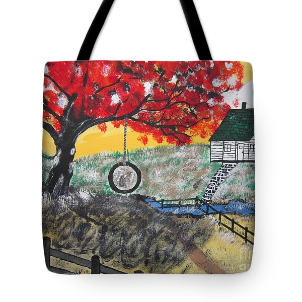 Tote Bag featuring the painting Red Maple  Swing by Jeffrey Koss