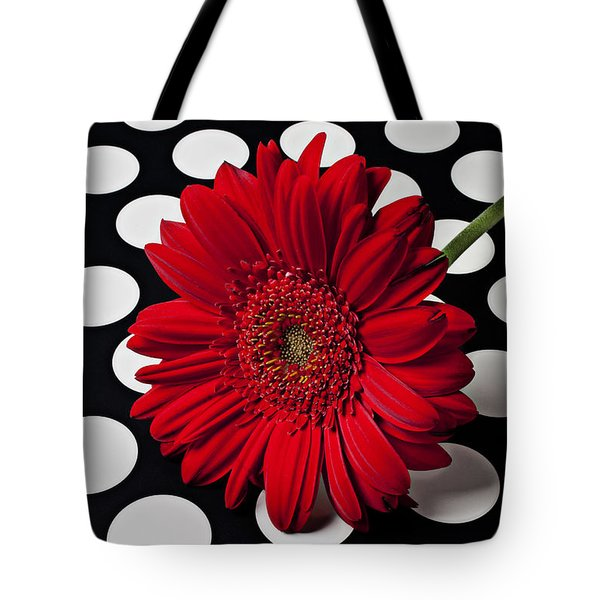 Red Mum With White Spots Tote Bag by Garry Gay