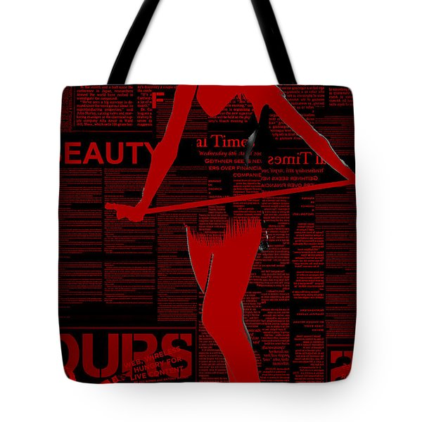 Red Paper Dance Tote Bag by Naxart Studio