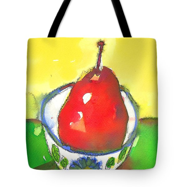 Red Pear In Blue Floral Bowl Tote Bag