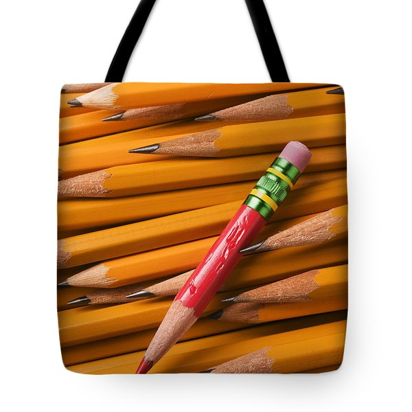 Red Pencil With Yellow Ones Tote Bag by Garry Gay