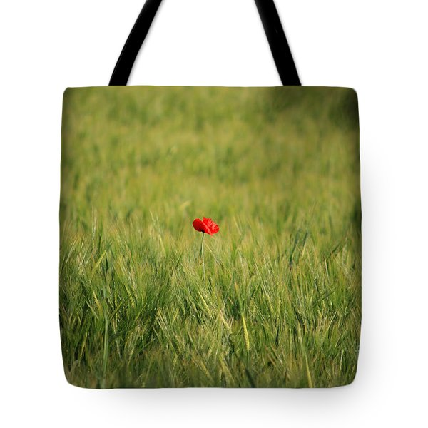 Red Poppy In A Field Tote Bag