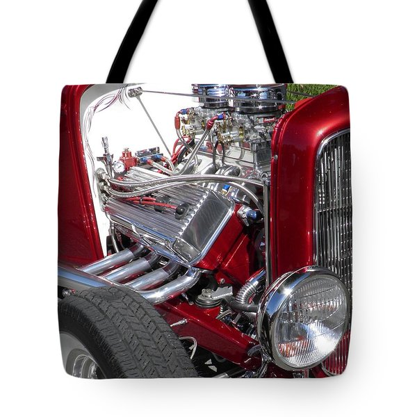 Red Roadster Hot Rod Fine Art Photo Tote Bag by Sven Migot