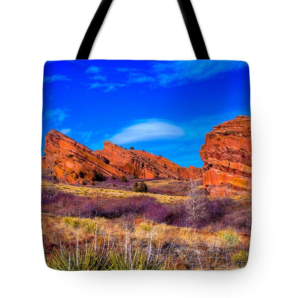 Red Rocks Park Colorado Tote Bag by David Patterson