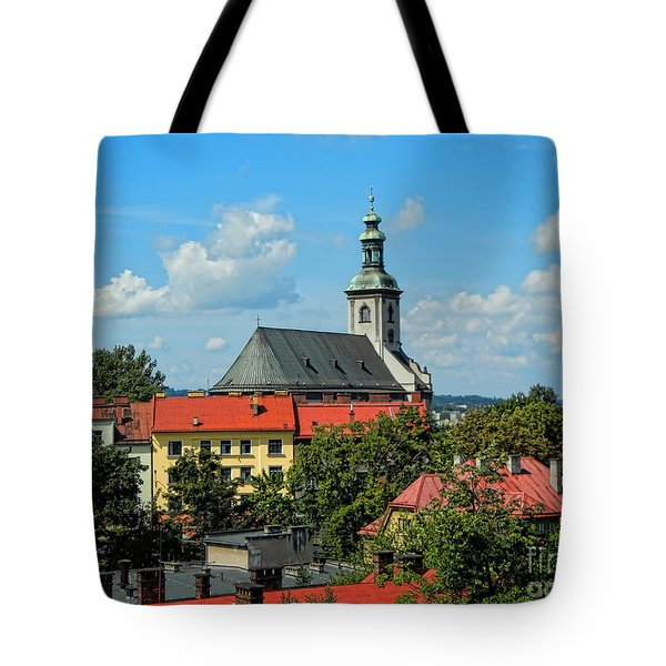 Red Roofed Wonders Tote Bag by Mariola Bitner