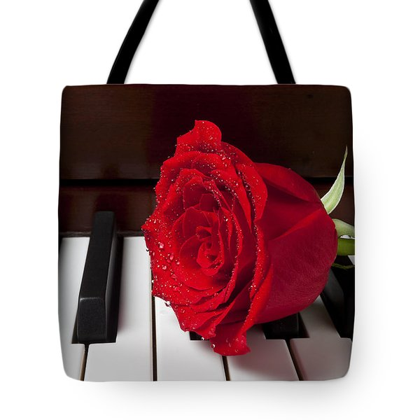 Red Rose On Piano Tote Bag