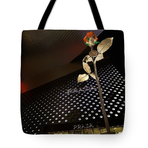 Red Rose Prada Tote Bag by Nicholas  Grunas
