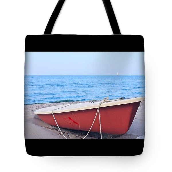 Red Sailboat On The Beach Tote Bag