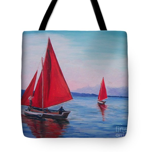 Tote Bag featuring the painting Red Sails On Irish Coast by Julie Brugh Riffey