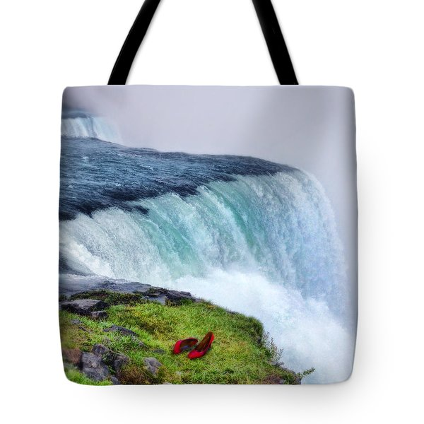 Red Shoes Left By The Falls Tote Bag by Jill Battaglia