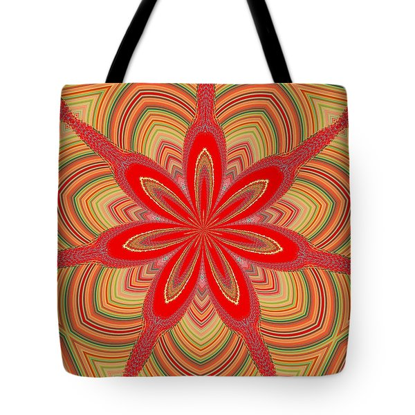 Tote Bag featuring the digital art Red Star Brocade by Alec Drake