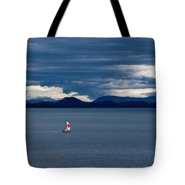 Tote Bag featuring the photograph Red Star Sail by Lorraine Devon Wilke