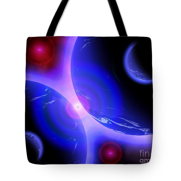Red Stars And Blue Planets Mirrored Tote Bag by Mark Stevenson