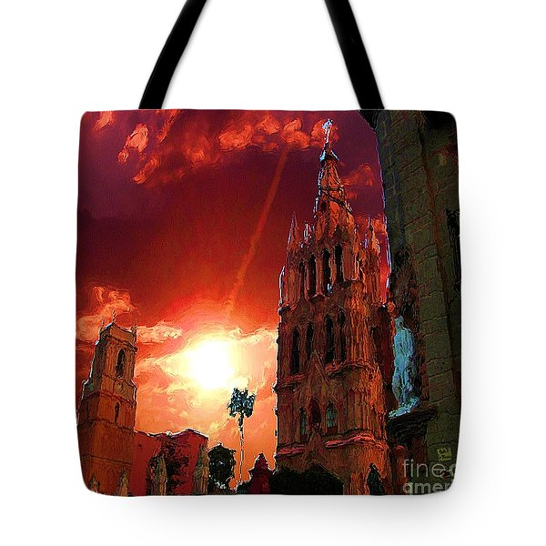 Tote Bag featuring the photograph Red Sunset Over The Paroquio by John  Kolenberg