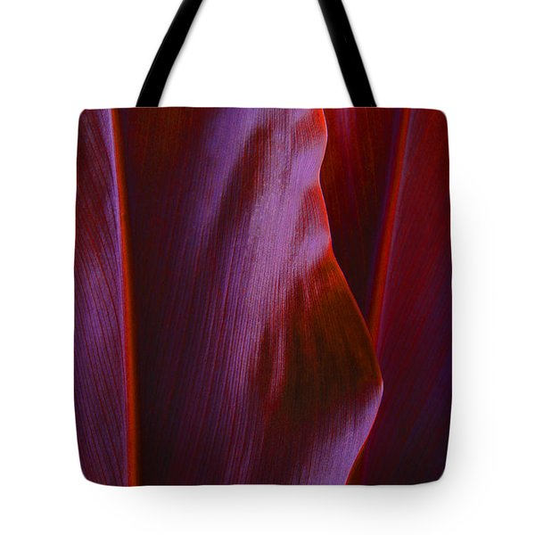 Tote Bag featuring the photograph Red Ti Leaves - Natures Abstract Shapes by Kerri Ligatich