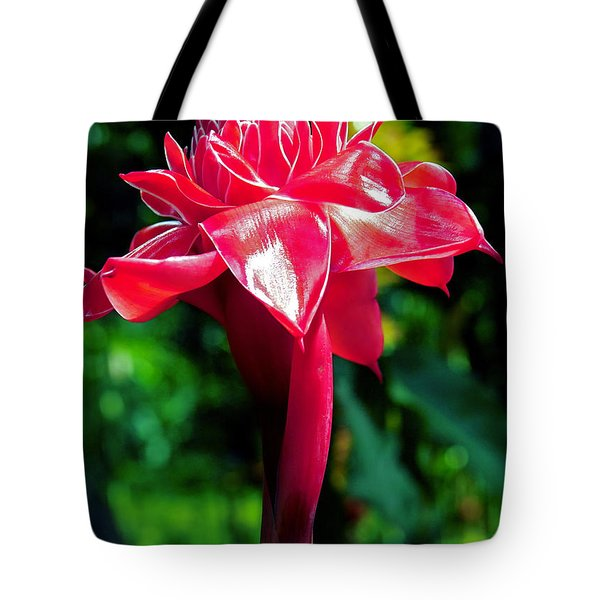 Red Torch Ginger Tote Bag by Jocelyn Kahawai