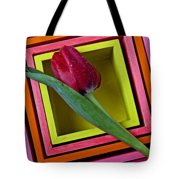 Red Tulip In Box Tote Bag by Garry Gay