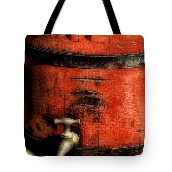 Red Weathered Wooden Bucket Tote Bag by Paul Ward