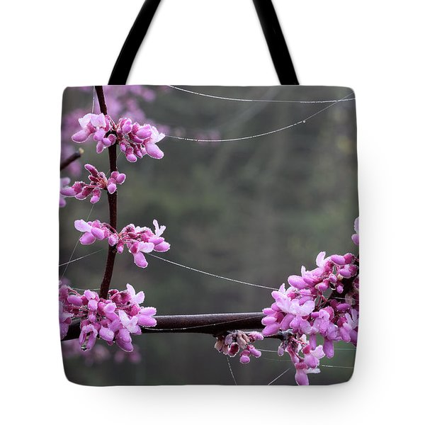 Redbud With Webs And Dew Tote Bag