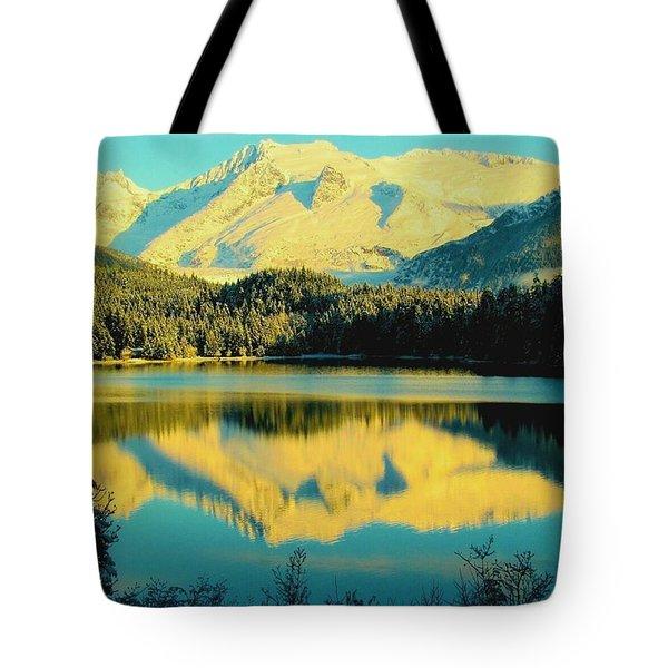 Reflecting On Auke Lake Tote Bag by Myrna Bradshaw