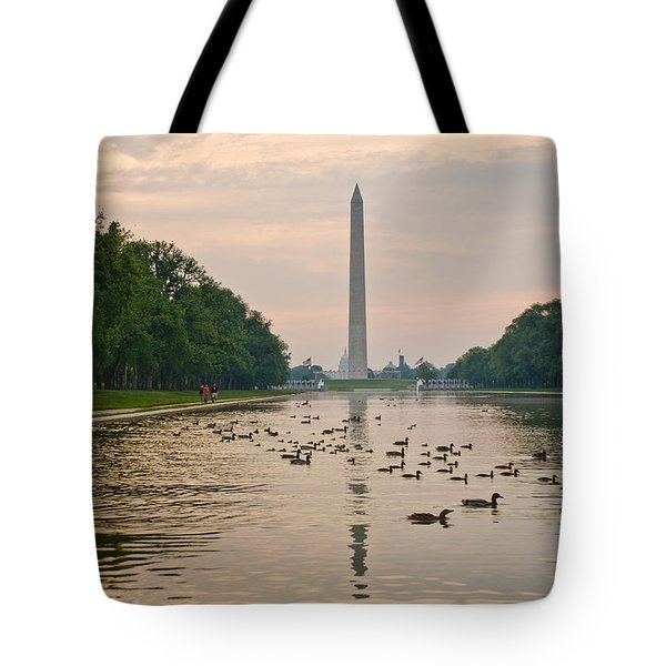 Tote Bag featuring the photograph Reflecting Pool And Ducks by Jim Moore