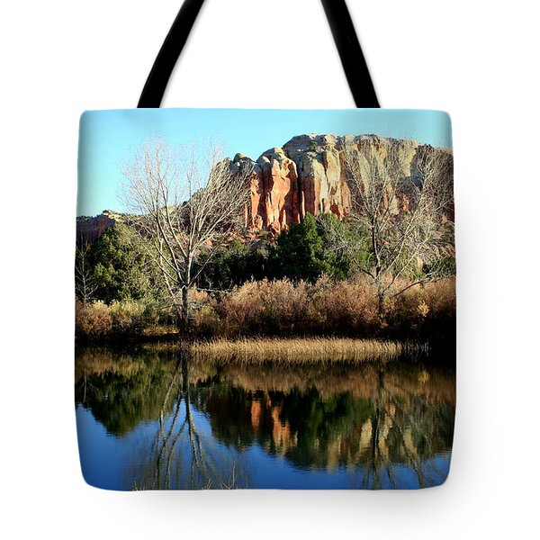 Tote Bag featuring the photograph Reflection At Ghost Ranch by Laurel Talabere