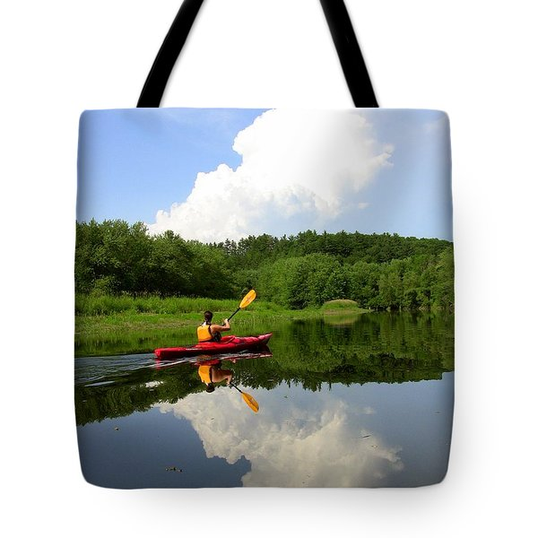 Reflection Of A Kayaker On The Merrimack Tote Bag by Rick Frost