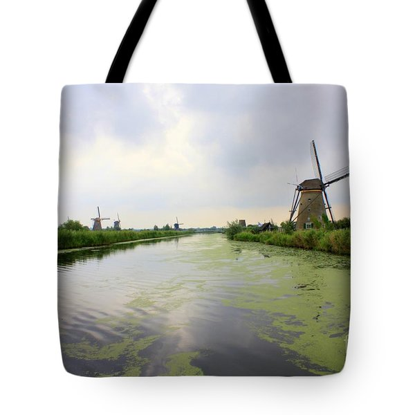 Reflection Of Sky At Kinderdijk Tote Bag by Carol Groenen