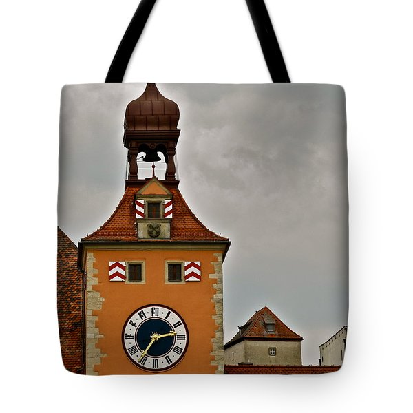 Tote Bag featuring the photograph Regensburg Clock Tower by Kirsten Giving