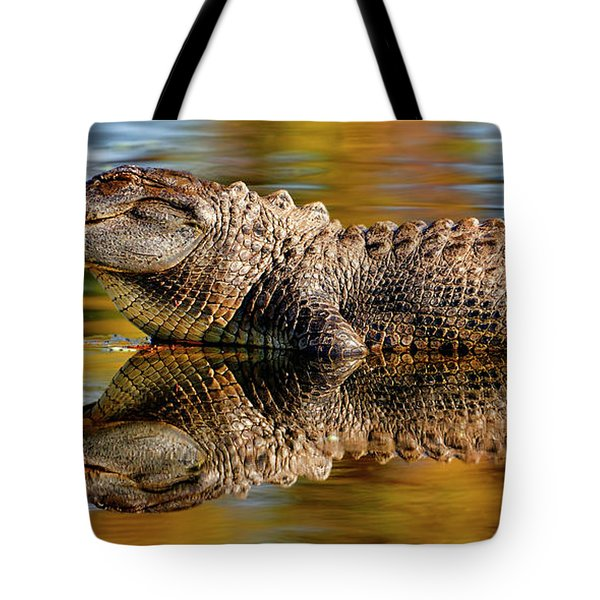Relection Of An Alligator Tote Bag