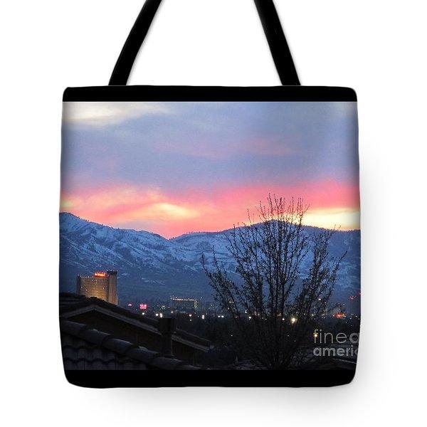 Reno At Night Tote Bag by Phyllis Kaltenbach