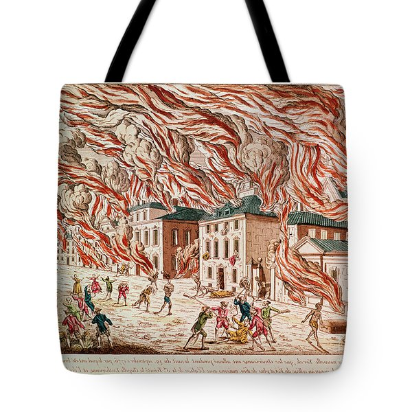 Representation Of The Terrible Fire Of New York Tote Bag by French School