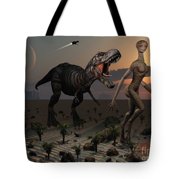 Reptoids Tame Dinosaurs Using Telepathy Tote Bag by Mark Stevenson