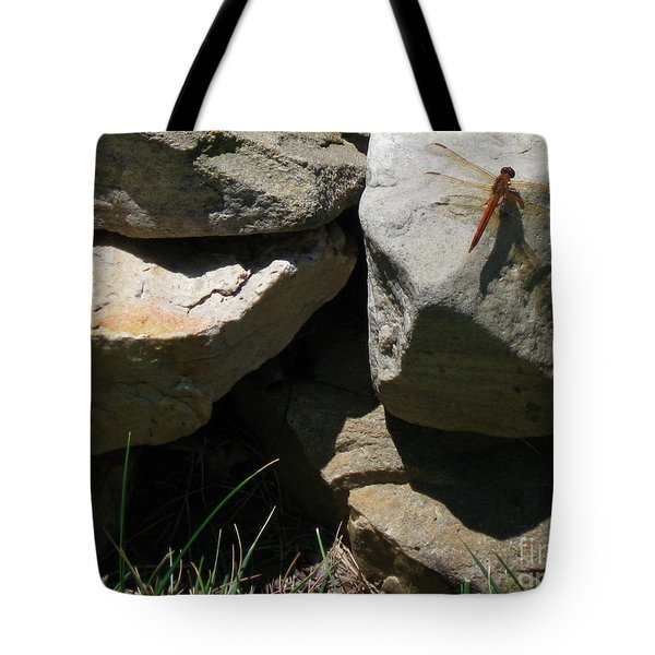 Tote Bag featuring the photograph Resting Dragonfly  by Nancy Patterson
